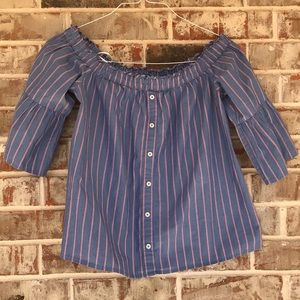 Abercrombie & Fitch Striped Off Shoulder Crop Top